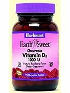 EARTHSWEET VITAMINA D3 MASTICABLE 1000UI 90COMP BLUEBONNET