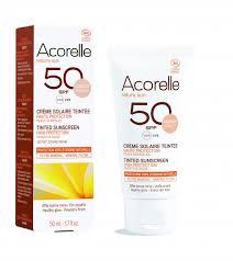 Crema solar facial color apricot SPF50 Acorelle