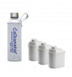 Pack de filtros Alkanatur Drops con botella de borosilicato ALKANATUR DROPS